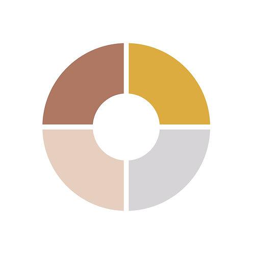 פלטת צבעים חרדל,אפור בהיר,חום,ורוד