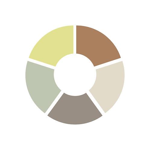 פלטת צבעים צהוב,חום,אפור כהה,מנטה ירוק