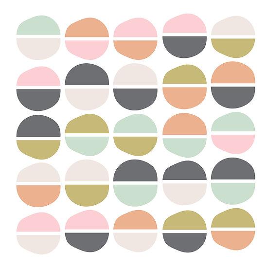מדבקות קיר חצאי עיגולים צבעוני