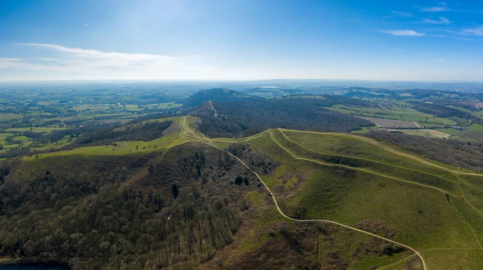 Pano of Malvern Hills looking south towards Midsummer Hill