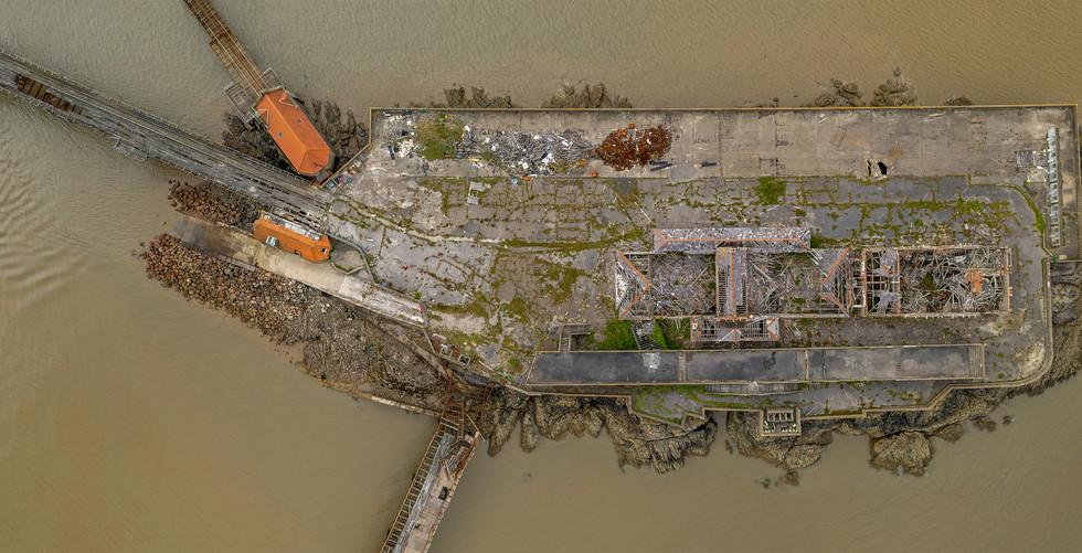 Birnbeck Pier topdown pano