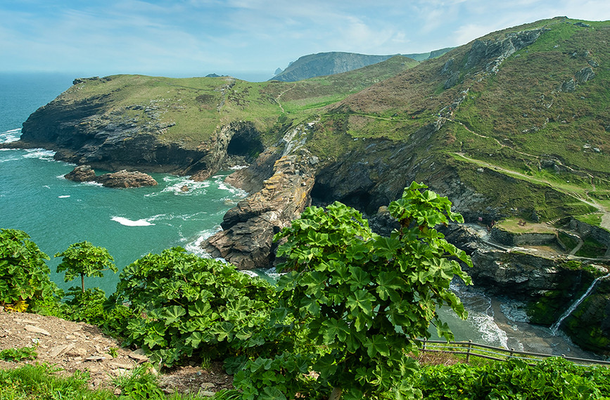 View down to Tintagel Haven from the Castle 03