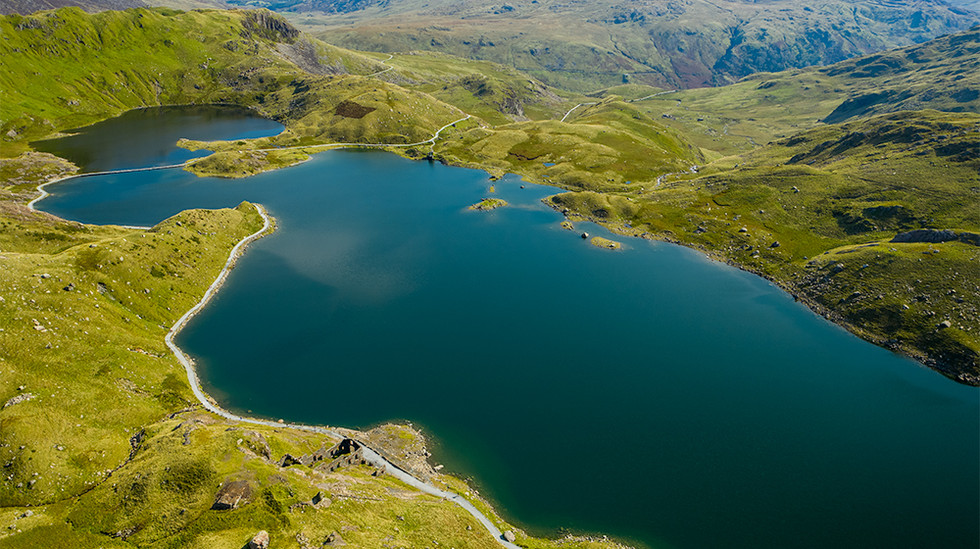 View of Miners Track snaking around Llyn Llydaw