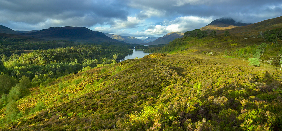 Panorama looking west (Sgurr Na Lapaich (right) & Meall a Ghraidh (left)