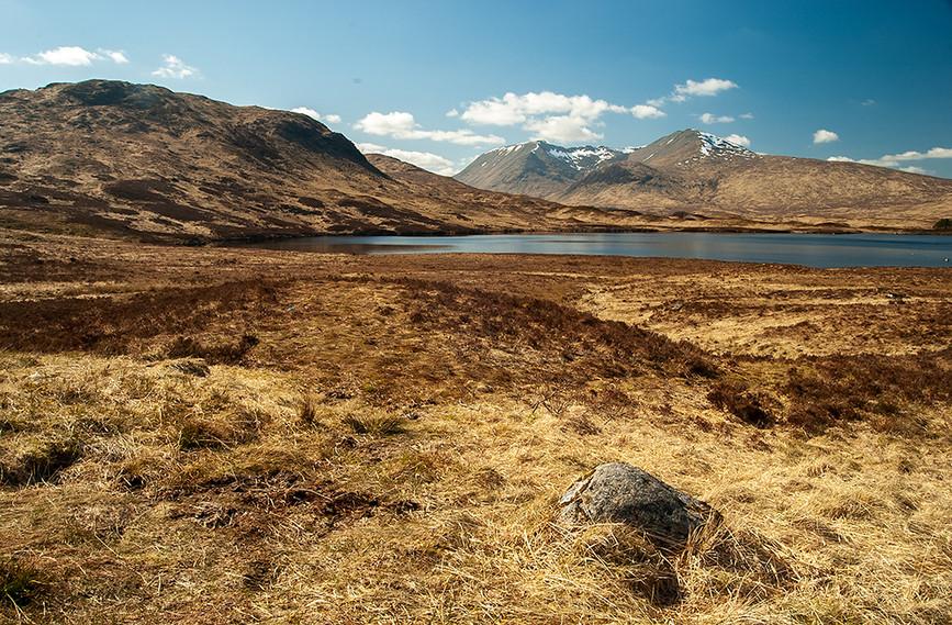 View across Lochan na Stainge towards Stob Choire Odhair, Rannock Moor