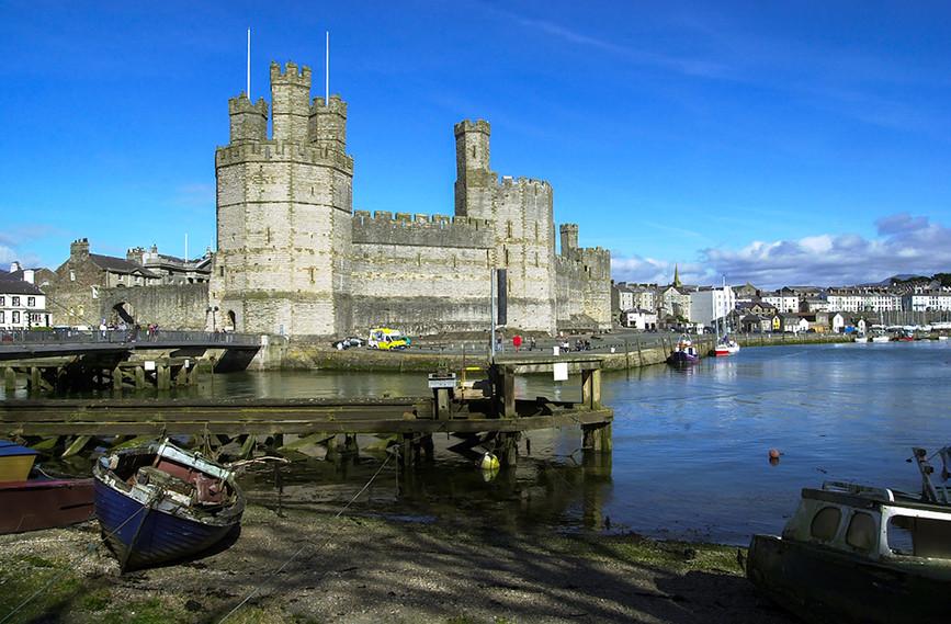 Caernarfon Castle across the Afon Seiont with swing bridge 02