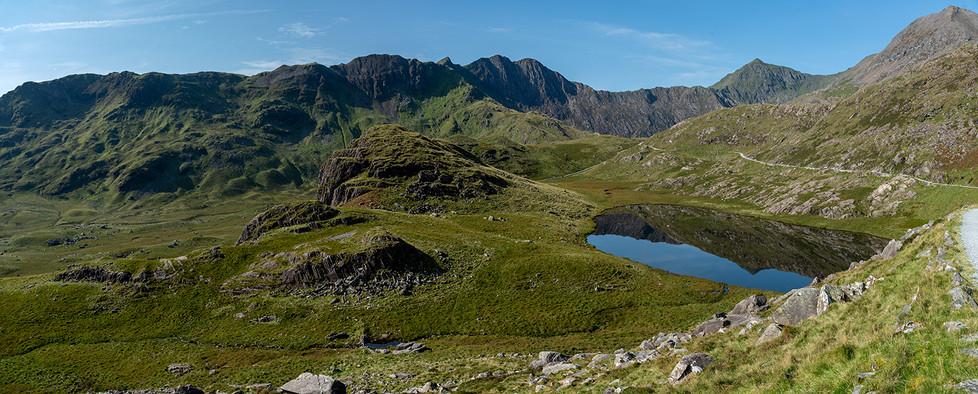 View across Llyn Teyrn towards Mount Snowdon (Pano) 01
