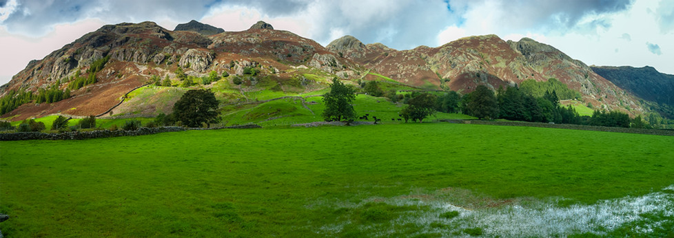 Panorama of The Langdale Pikes
