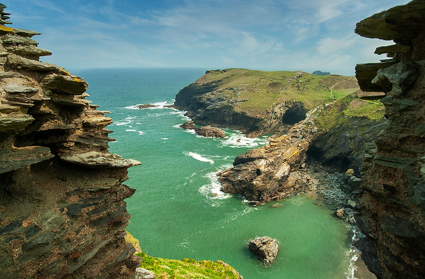 View down to Tintagel Haven from the Castle 02