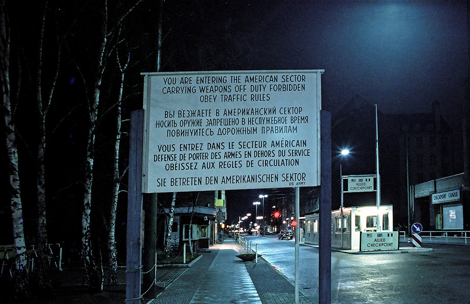 Allied Checkpoint Charlie at night