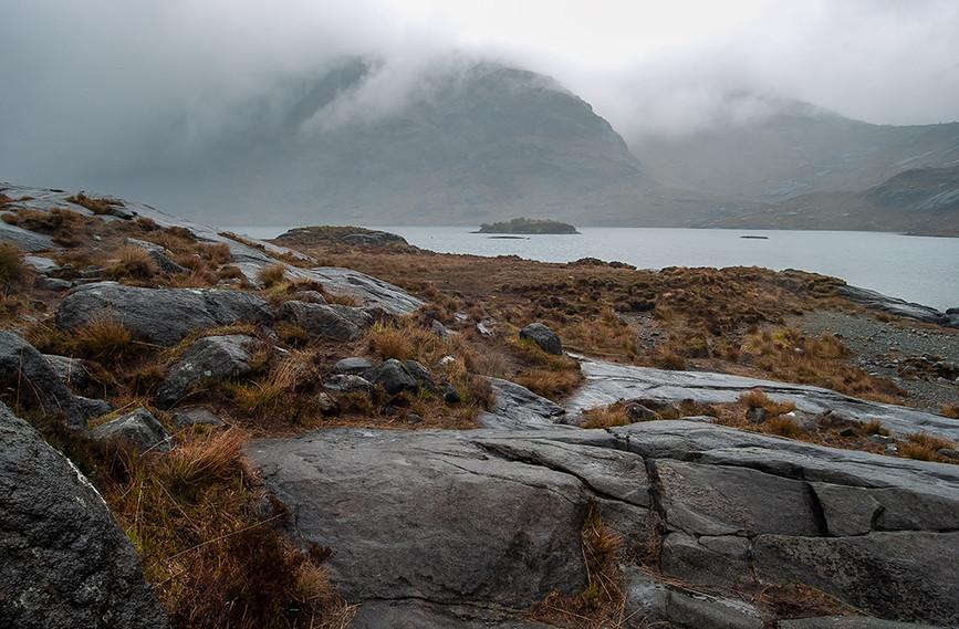 Across a misty Loch Coruisk