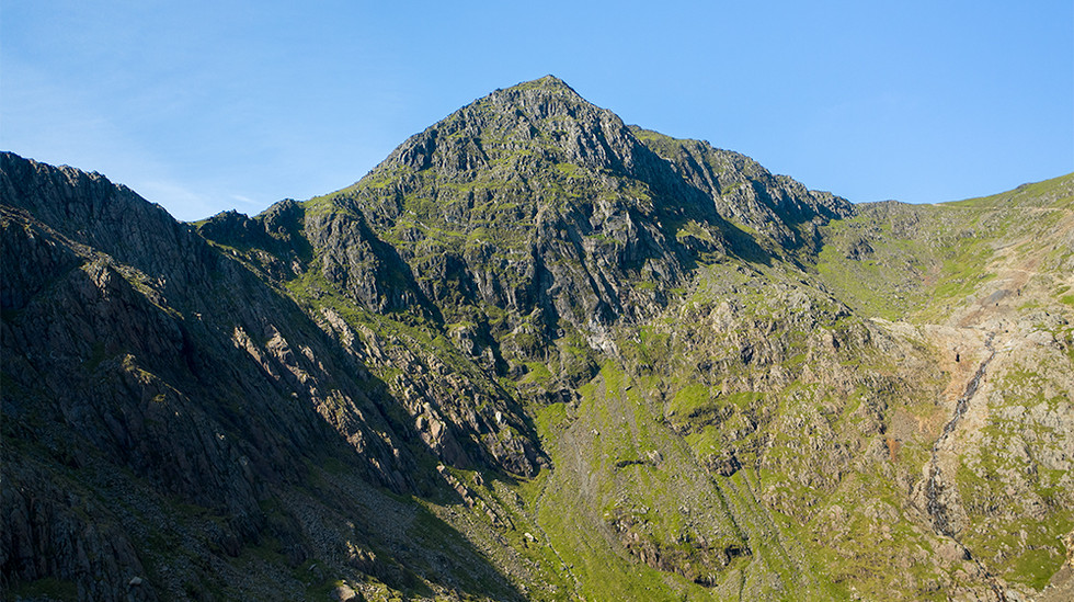 The summit of Mount Snowdon from above Glaslyn