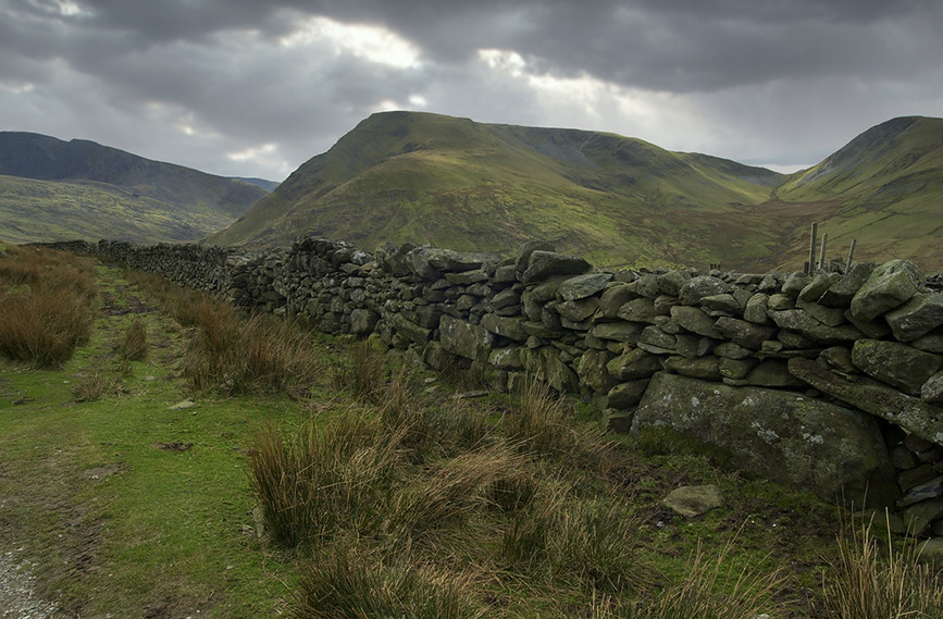 Stone walling on the slopes of the mountain