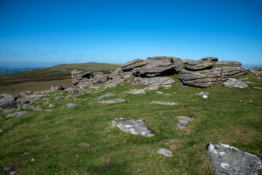 Granite outcrop on Middle Staple Tor with Cox Tor in the background