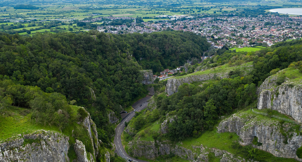 View near bottom of gorge and village of Cheddar