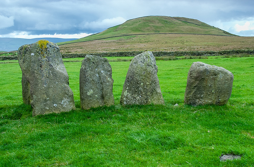 Portalled entrance stones (left) looking towards Ravens Crag