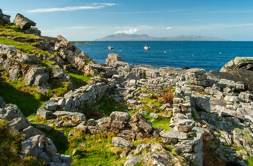 Rocky outcrop in Elgol & the Island of Rum