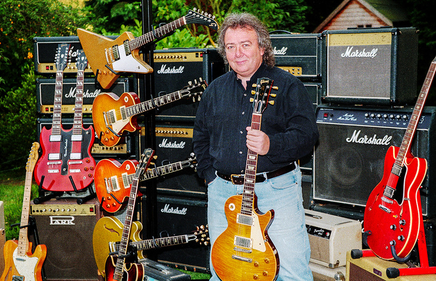 Bernie Holding his '59 Gibson Les Paul 'The Beast' in front of Marshall Ampa and Various Gibsons (and a Fender Strat)