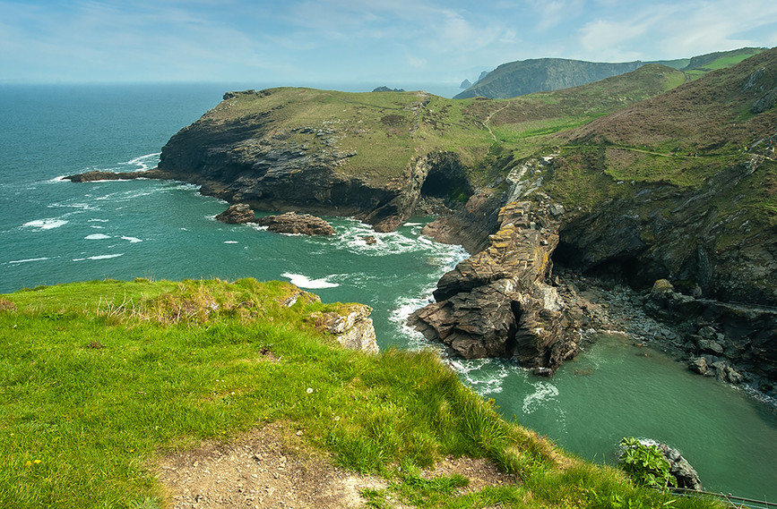 View down to Tintagel Haven from the Castle 04