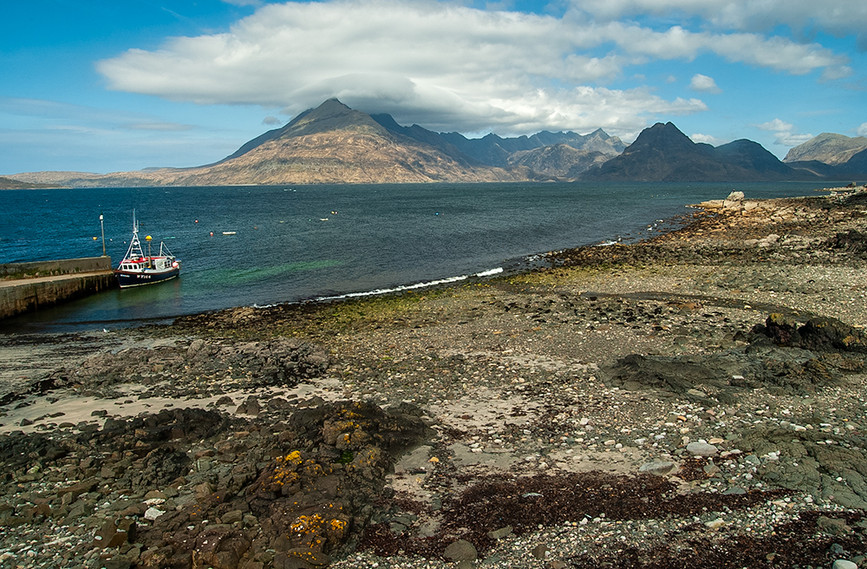 View of Elgol jetty and the Black Cuillins