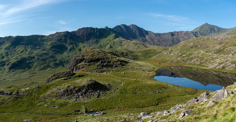 View across Llyn Teyrn towards Mount Snowdon (Pano) 02
