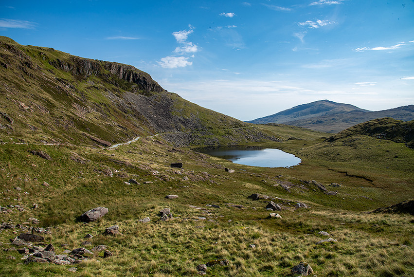 View across Llyn Teyrn back down Minors Track 0
