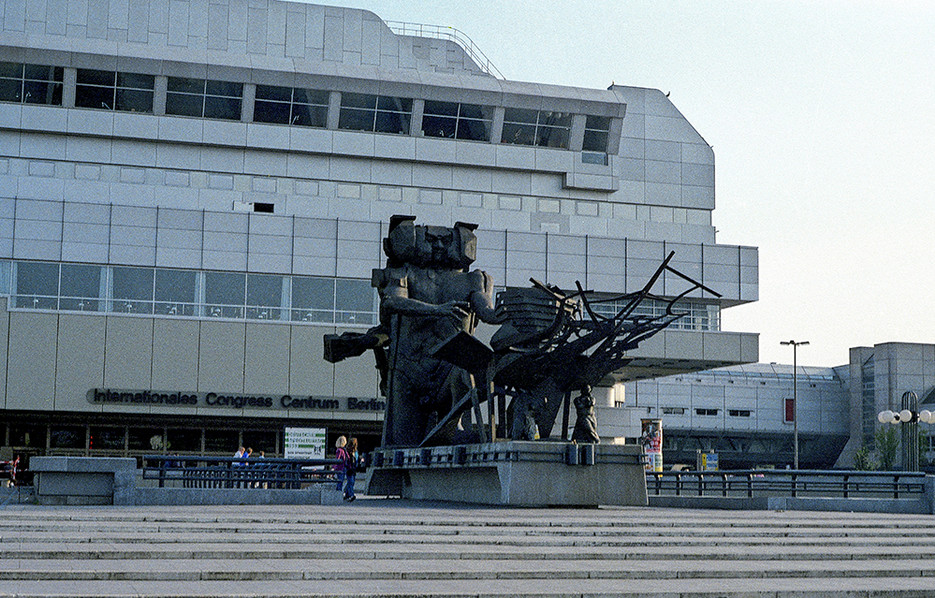 The Statue in front of ICC; 'Ecbatane; Man builds a city'