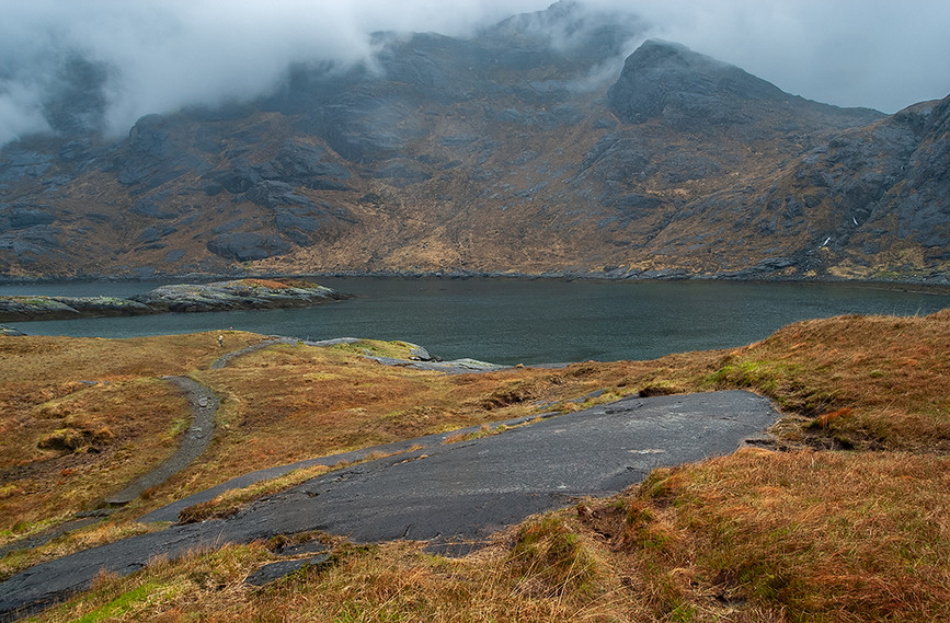 View across Loch na Cuilce to slopes of Sgurr a Choire Bhig