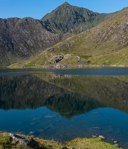 Vertical Pano of reflection of Mount Snowdon in Llyn Llydaw