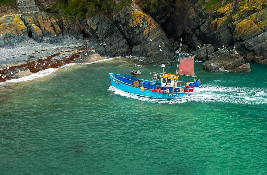 Fishing boat beaching