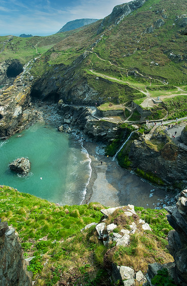 View down to Tintagel Haven from the Castle 01