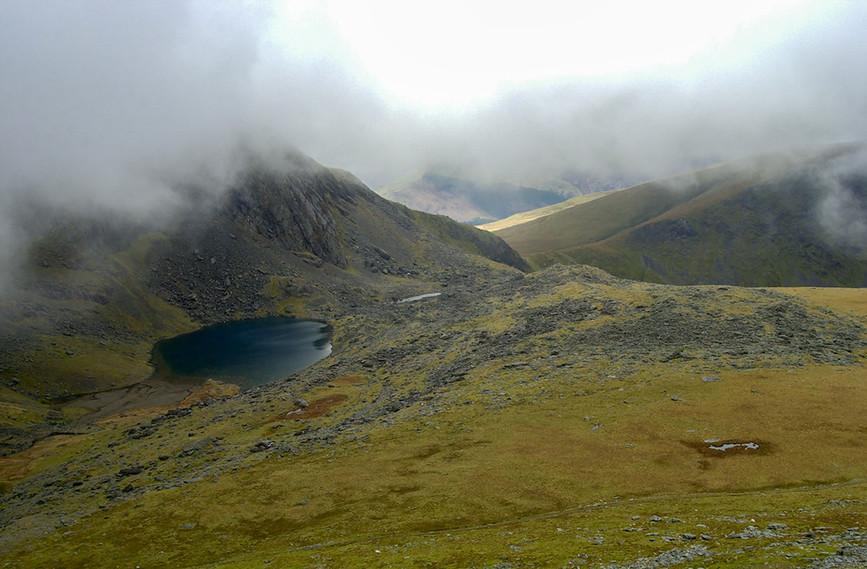 Looking down on Llyn Du'r Arddu from Clogwyn
