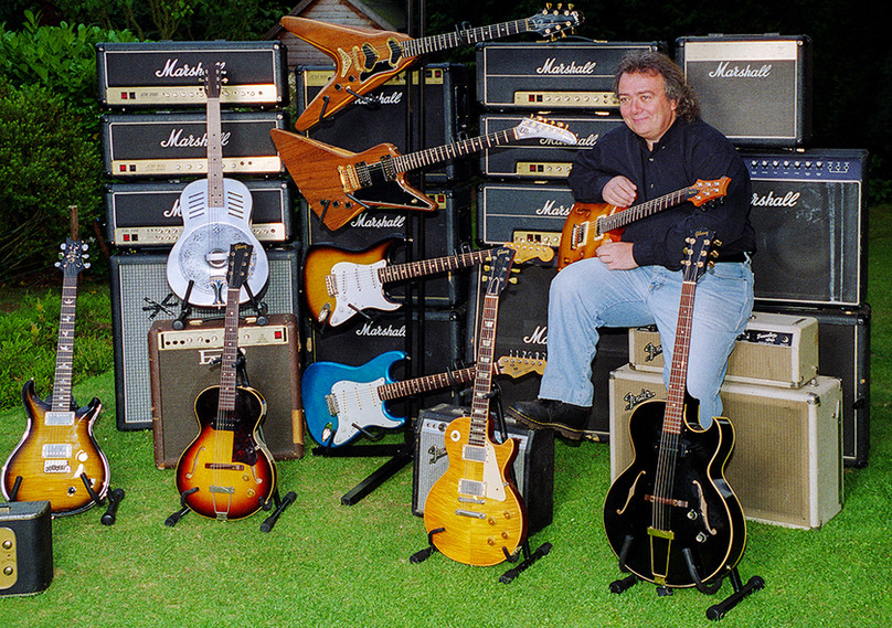 Bernie with Marshall Stacks and Various Gibson & Other Guitars