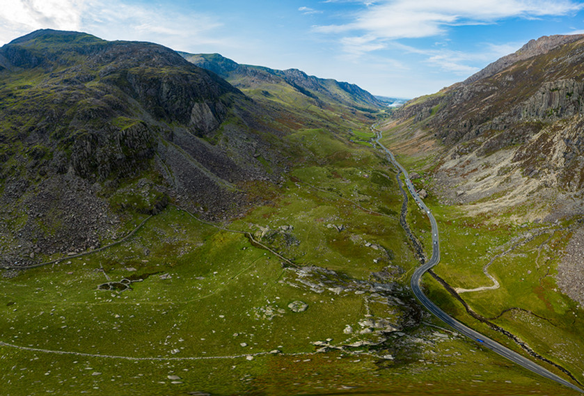 Pano of Llanberis Pass from the drone
