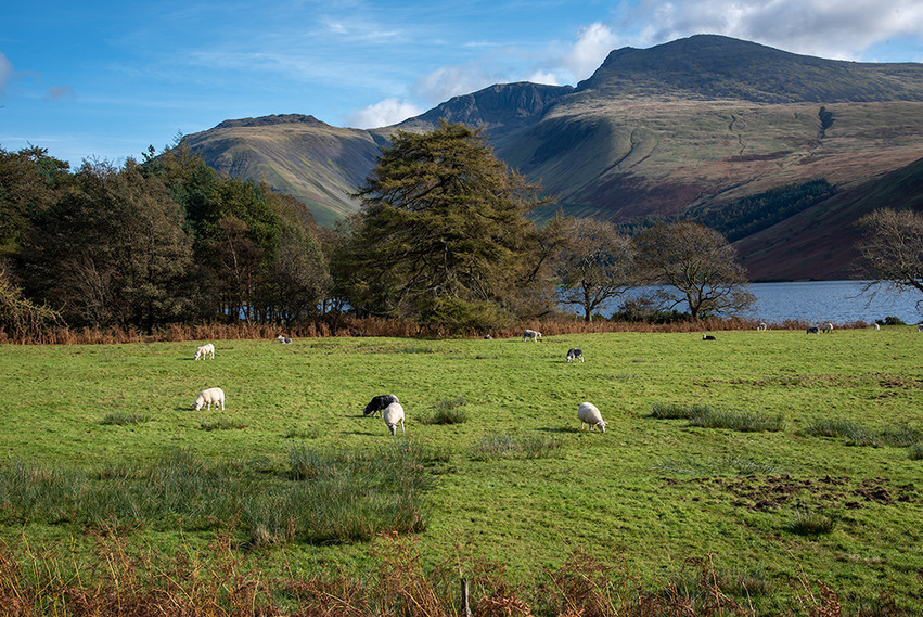 View across Wastwater to Scafell Pike