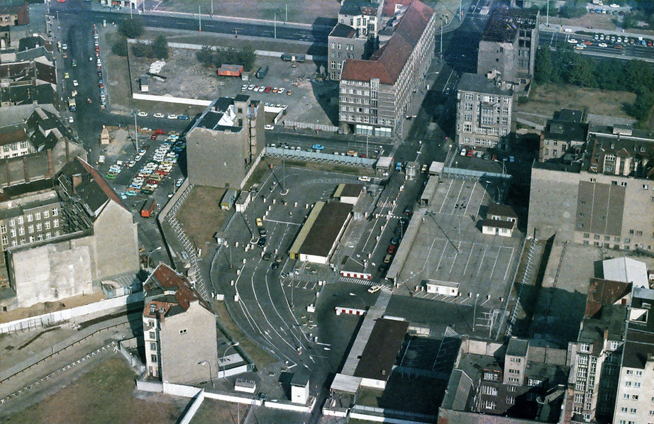 The Russian side of Checkpoint Charlie from the air
