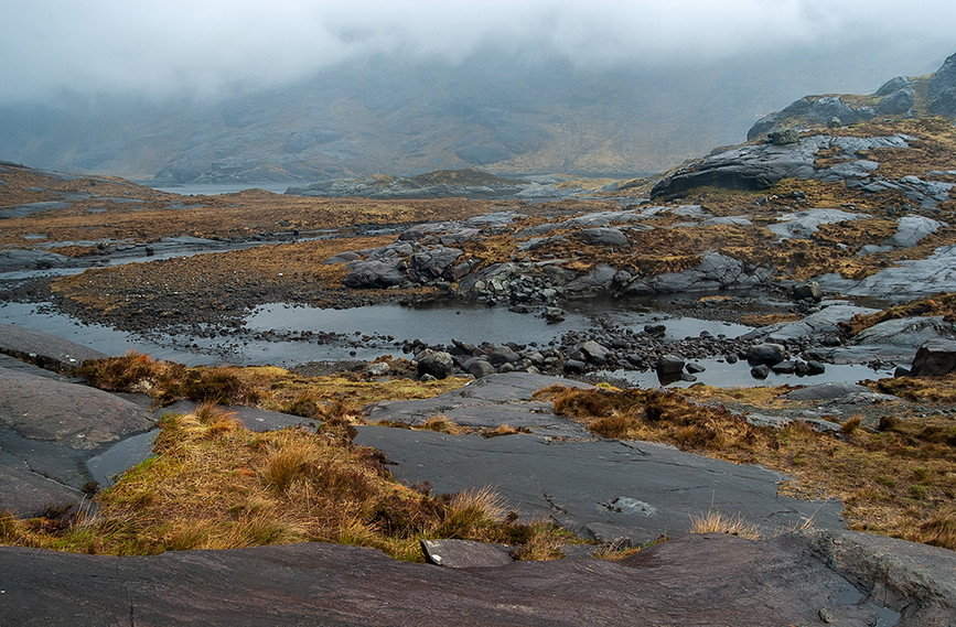 Scavaig River running into Loch na Cuilce