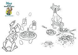 Minz und das Geheimnis von Ostern - Minz und Nala beim Essen