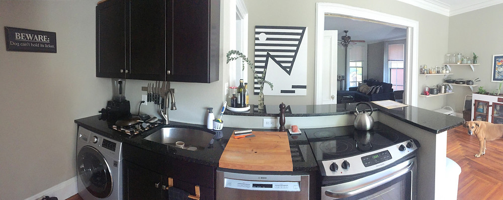 My actual Kitchen (And my dog)