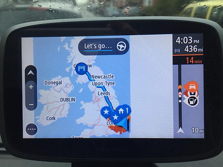 sat nav showing route