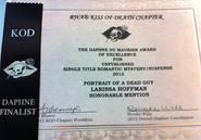Daphne du Maurier Finalist certificate