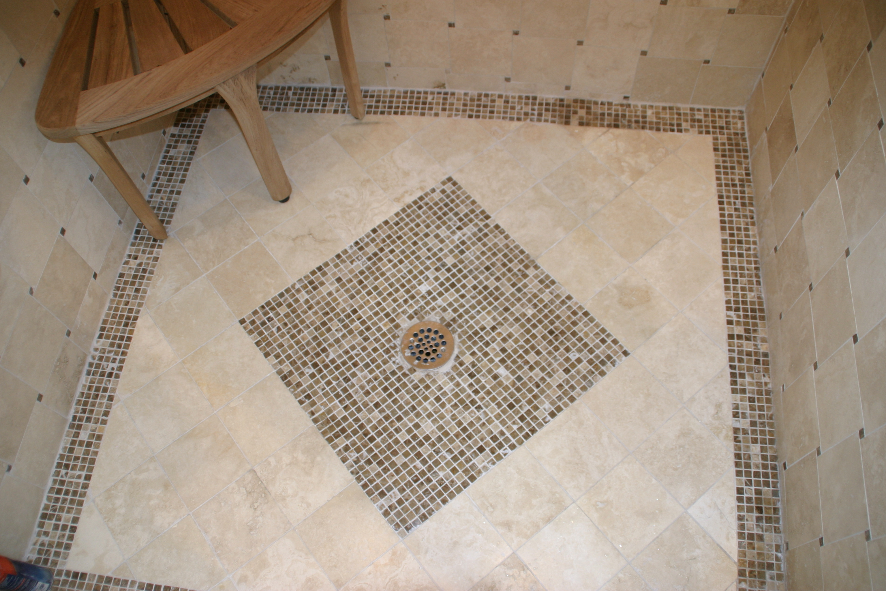 Shower floor tiling