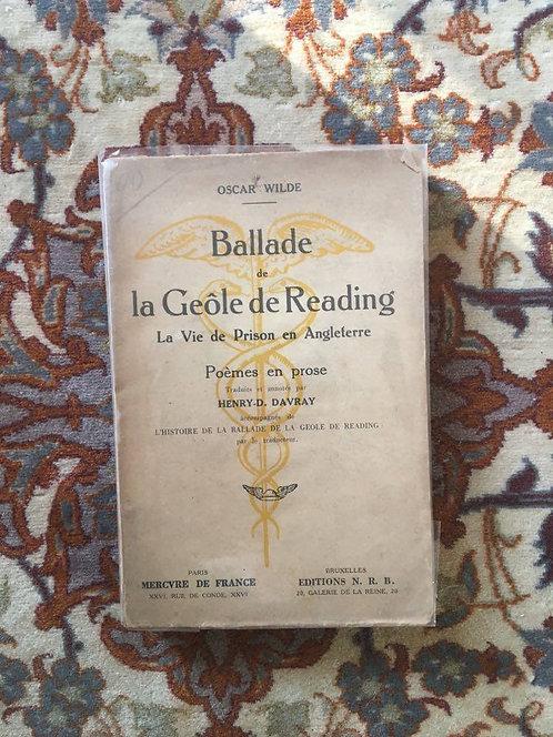 """WILDE Oscar  """"Ballade de la Geôle de Reading la vie de prison en Angleterre"""""""