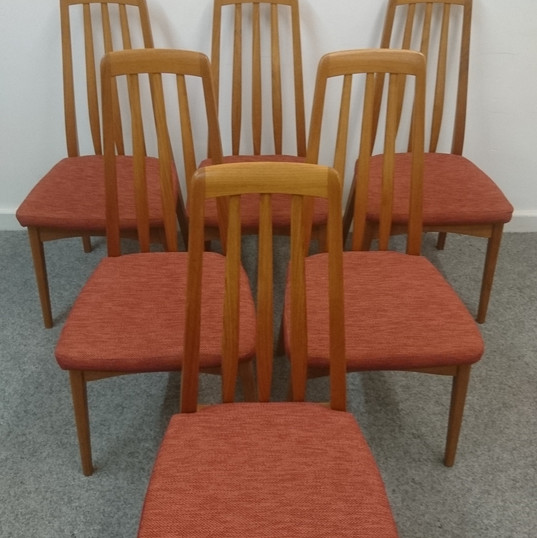 Mid-Century Skovby Teak Extending Dining Table x 6 Benny linden dining chairs