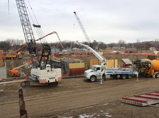 December work includes large concrete pour to form storm water pump station lower walls