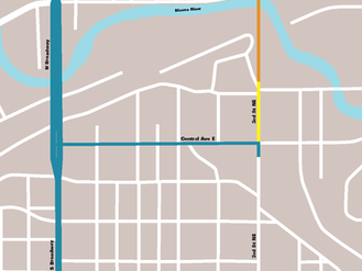 Temporary closure on 3rd Street NE and 5th Avenue NE Starting Monday, August 2nd