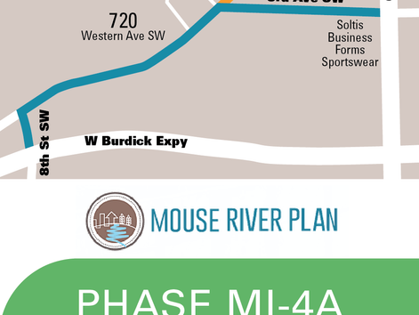 Access Map for Western Avenue and Minot Public Library while work continues on Phase MI-4A