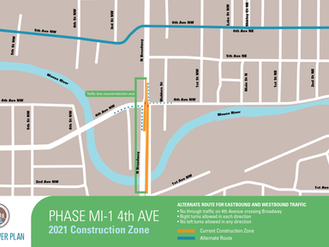 Temporary lane closures on Broadway and Fourth Avenue NW to start Monday