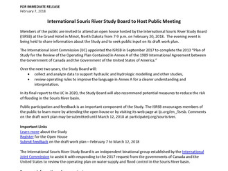International Souris River Study Board to Host Public Meeting