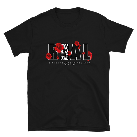"""R3AL """"Flowers while your here"""" T-Shirt"""